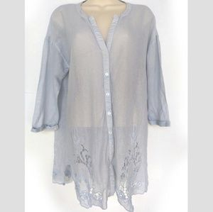 Anthropologie Meadow Rue Blue shirt loose fit Sm